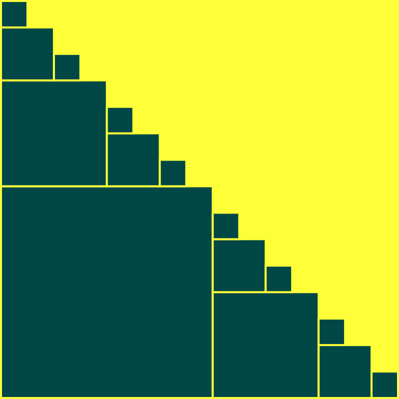 This example creates a square v-fractal with a depth of four. The fractal is evolved on a square 800x800 canvas. All branches are perfectly square and they grow in the direction from the lower left corner to the upper right corner. There are 2x more squares in every next iteration but they are 1/4th of the size of the previous one.